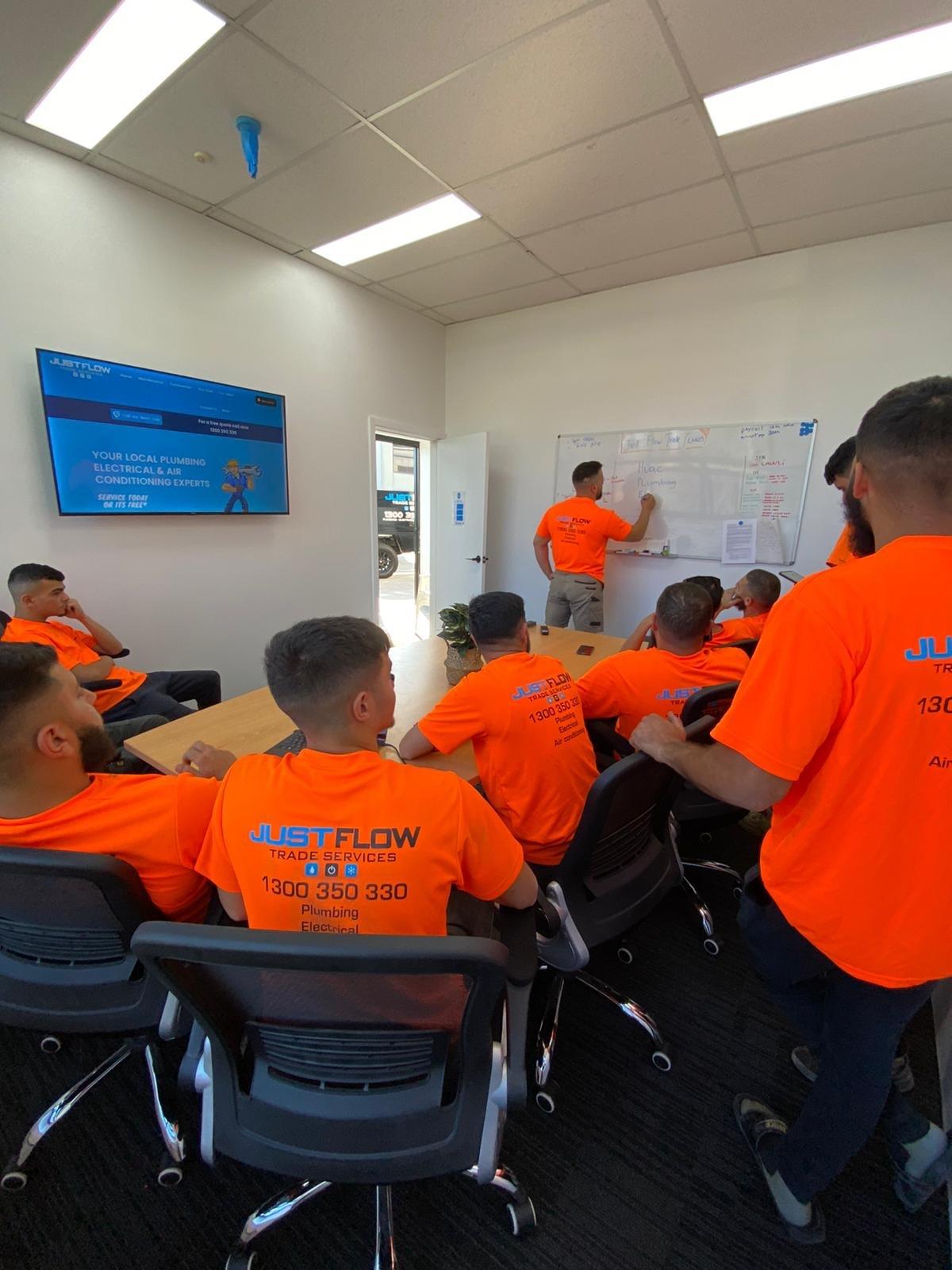 Justflow Plumbing, Electrical & Air Conditioning HVAC Team Moorebank Office Learning