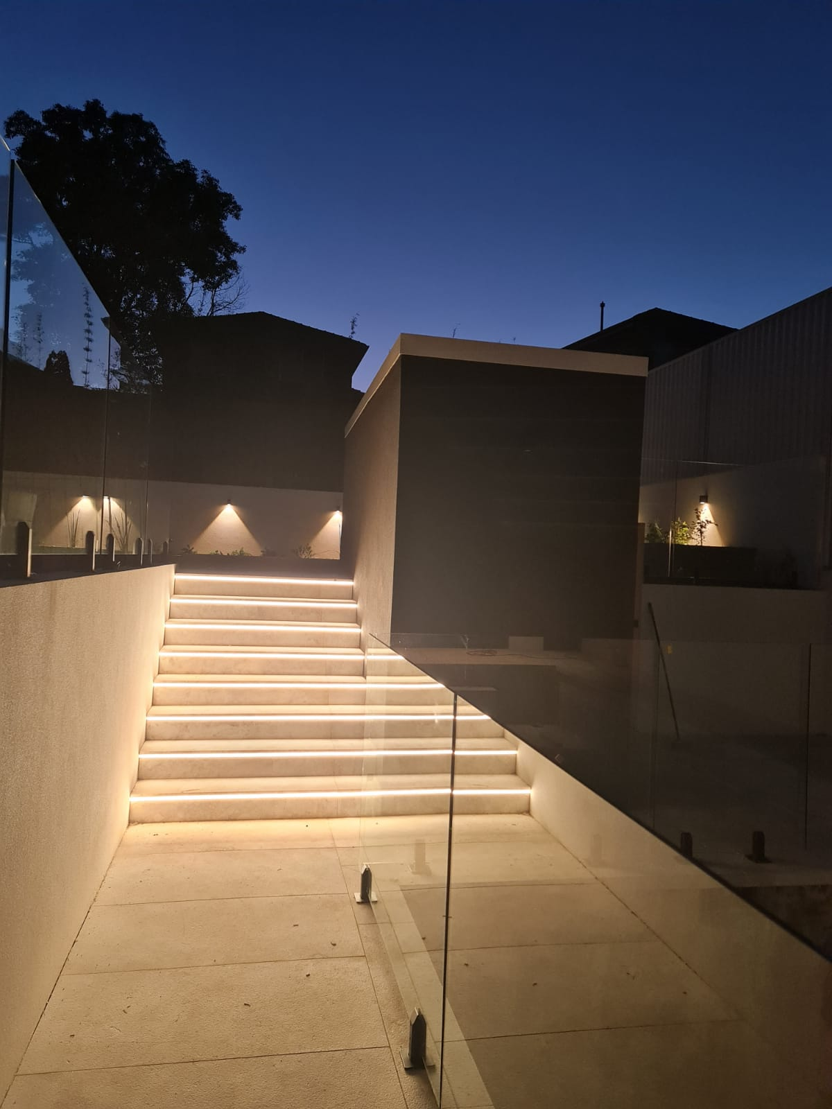 recessed led stair lights electrician installing recessed strip stair lights outdoor and indoor linear lighting installer electrician near me